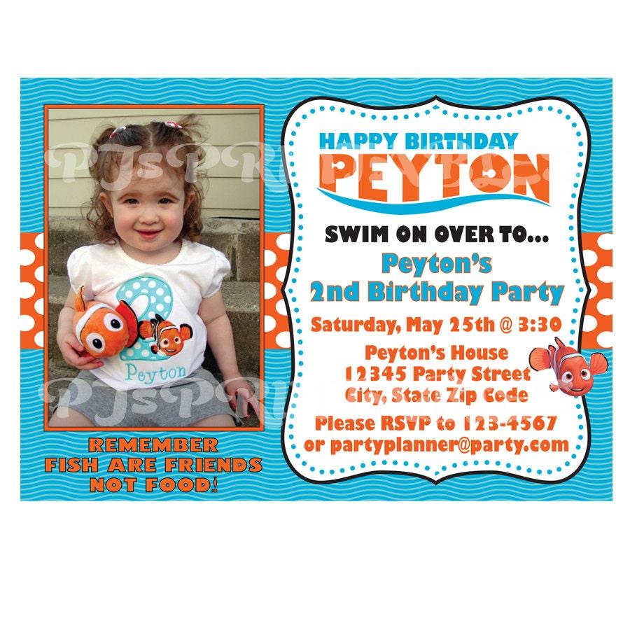 Finding Nemo Birthday Invitation Custom Digital File