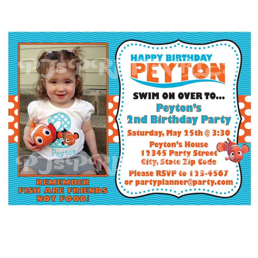 Finding Nemo Birthday Invitation Custom Digital File