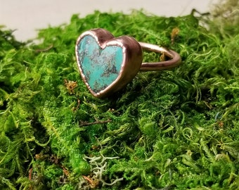 Copper Electroformed Turquoise Ring Size 8 | Turquoise Heart Ring | Copper Electroformed Jewelry | Turquoise Ring | Birthstone Ring