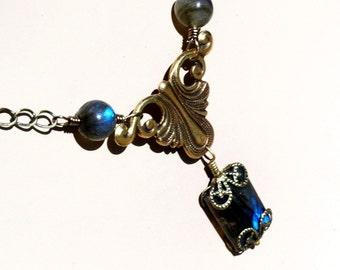 Labradorite Scroll   ---   Labradorite Necklace With Antiqued Brass Scroll