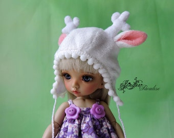 Deer cap white color for a doll BJD Lati Yellow/Pukifee/Nikki Britt/Luts Tiny Delf