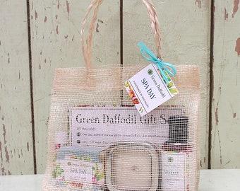 Spa Day Large Gift Set - Mesh Tote - Green Daffodil