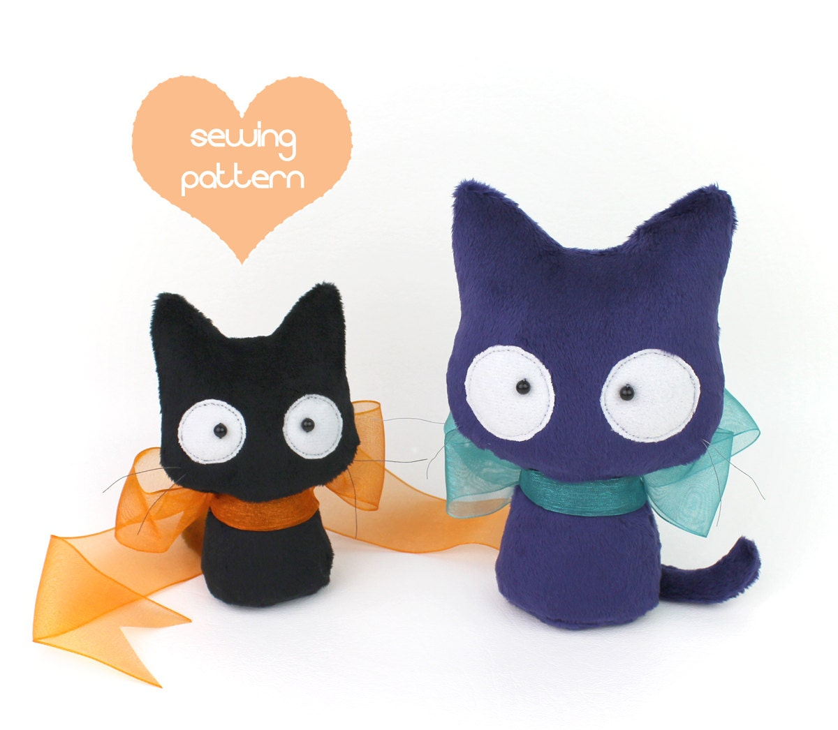PDF sewing pattern Halloween Black Cat stuffed animal 2