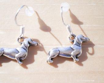 Dachshund Earrings, Dog Earrings, Animal Earrings, Charm Earrings, Jewelry Findings