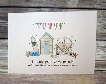 Campervan, Surfboard and Beach Hut Wedding Day Thank You Cards