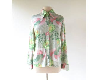 70s Floral Blouse | Electric Peony | Disco Shirt | Large L