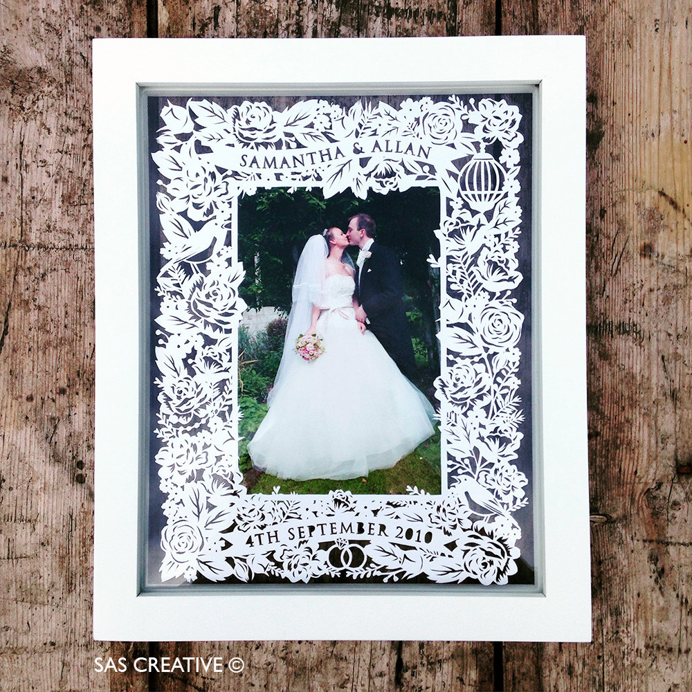 Papercut Photo Frame Template for Wedding Day / First Wedding