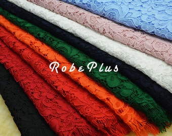 Red Eyelash Lace Fabric - Purple Floral Lace Fabric - Floral Embroidered Lace - Blue Eyelash Lace- Floral Red lace- Maroon lace fabric- L186