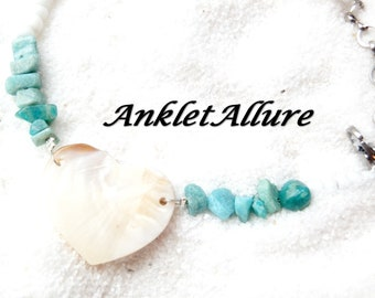 Anklet Heart Ankle Bracelet SHELL AMAZONITE Anklets for Women