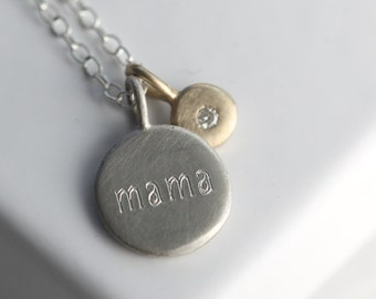 Diamond mama necklace, diamond necklace, mama necklace, mom necklace