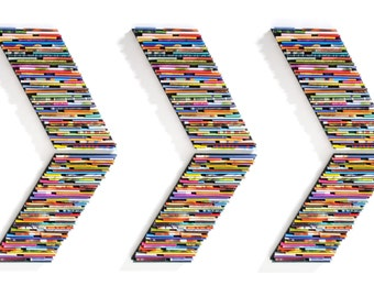 chevron wall art set of 6 - recycled magazine arrows - made from recycled magazines, colorful, unique, modern, bright, pop of color,wall art