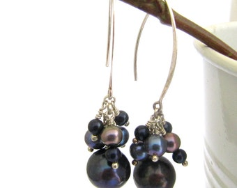 Gray Pearl Cluster and Silver Hanging Earrings. Big Statement Earrings. Holiday Gift for Her. Elegant Earrings.