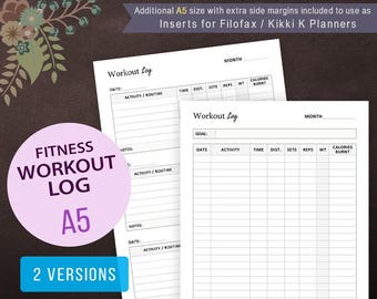 Workout Log, Fitness Log, Exercise Log Planner, Printable Inserts, Health Tracker, Fitness Tracker, Filofax A5, Weight Loss Tracker