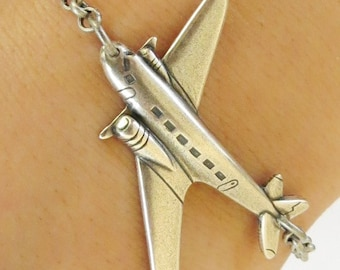 Steampunk Airplane Bracelet / Airplane Anklet Sterling Silver Ox Finish / Antiqued Brass Finish