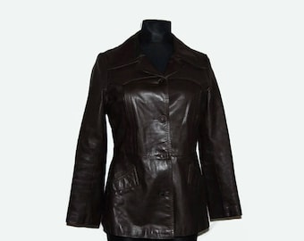 Brown Viva Leather Wear jacket, Vaatevienti Oy, Made in Finland