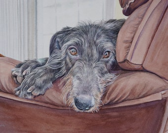 "Custom Dog Portrait Watercolor Scottish Deerhound 11"" x 14"""