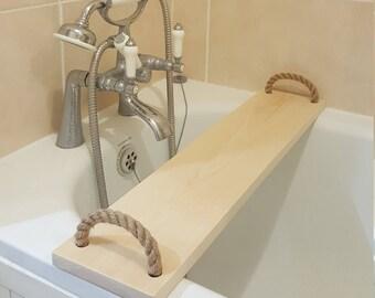 Solid Pine Wood Handmade Natural BathTub Rack Bridge Caddy Wooden With Rope Handles