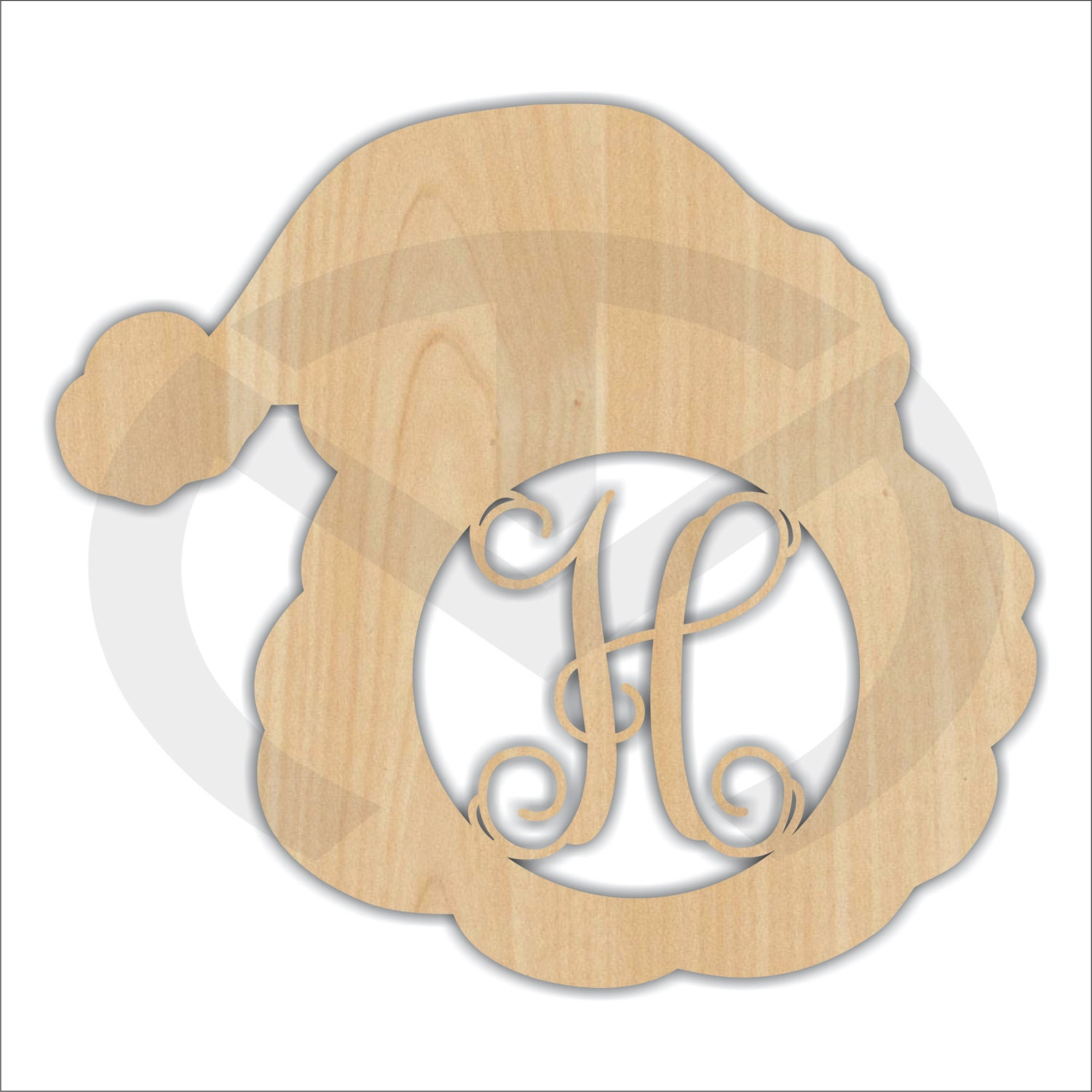 Unfinished Wood Santa Head Monogram with Initial Laser Cutout