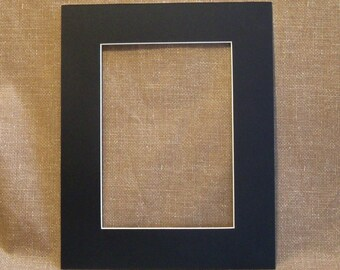 """Mat - Black with White Core - to fit 8"""" x 10"""" frame - Cut for a 5x7 Print"""