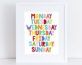 colourful days of the week art - play room print, nursery wall art, childrens educational artwork, kids decor, baby, girl boy gender neutral
