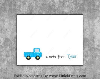 Little Blue Toy Truck Note Cards Set of 10 personalized flat or folded cards