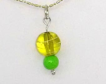 Green Striped Round with Solid Green Round Beaded Necklace