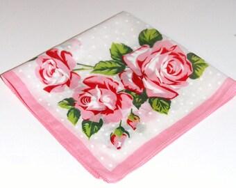 Vintage Handkerchief Hankie Hanky Floral Cotton Pink Red Roses Rosebuds Pink Border Shower Favor Bridesmaid Sympathy Gift Quilt Supplies