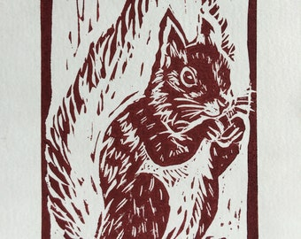 """Original, Unframed, Hand Pulled, Linocut Print - Red Squirrel - 6""""x4"""" on A5 Paper - lino ink paper"""