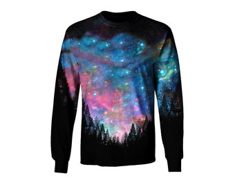 Space Artwork Long Sleeve T Shirt - All Over Print Galaxy Art - Trippy Festival Clothes ar1FZzEjJ