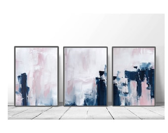 Pink U0026 Navy Blue Triptych Wall Art, Set Of 3 Prints, Digital Download,