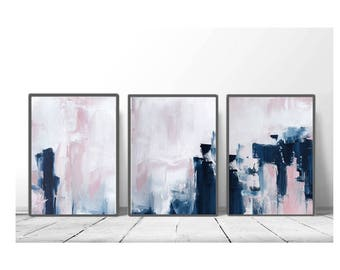 Pink U0026 Navy Blue Triptych Wall Art, Set Of 3 Prints, Digital Download,  Modern Poster, Abstract Wall Art, Art Minimalist, Scandinavian Art