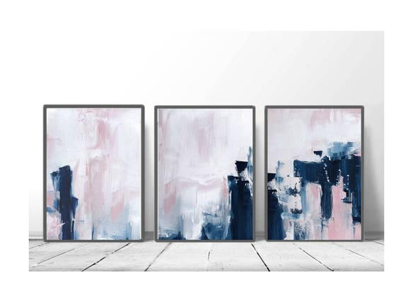 Amazing Pink U0026 Navy Blue Triptych Wall Art Set Of 3 Prints Digital