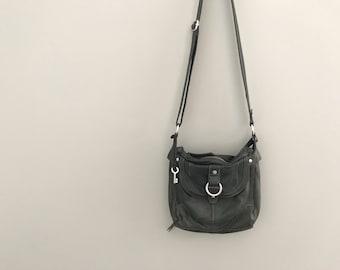 Vintage Women's Fossil Crossbody Bag, Black Leather Purse
