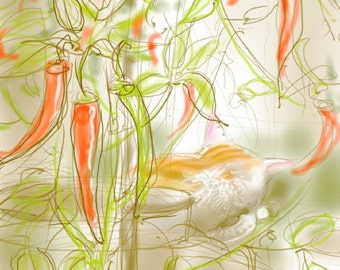 SALE! - 'Percy guards the Chillies' - art print, digital drawing, cat