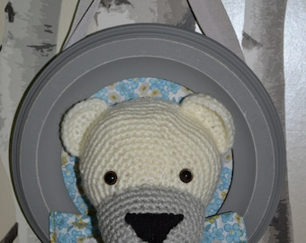 Trophy Teddy bear white and gray