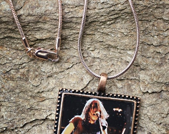 AC/DC Malcolm Young custom square resin photo pendant necklace - Malcolm Live in Concert early 1980's