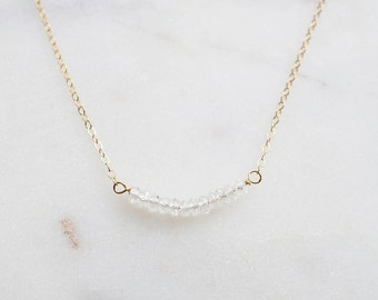 Quartz Crystal Gemstone necklace on 14K Gold-fill chain (Tristan) // Gift for her // Handmade jewelry // Minimalist necklace