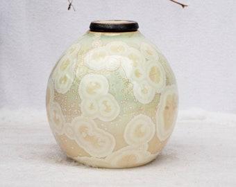 Ceramic urn for ashes, pet urn, crystalline pottery, white porcelain urn for human ash, dog urn, cat urn, keepsake urn, memorial urn, art.