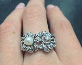 Diamond And Pearl 1950's ring, 18ct White Gold