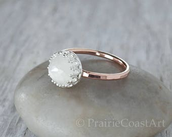 Rose Gold Moonstone Ring - 14k Gold Fill in Sterling Silver Crown Bezel -  Natural Moonstone Gemstone - Handcrafted Wedding Engagement