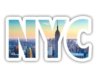 New York City Skyline Lettering Vinyl Decal Sticker