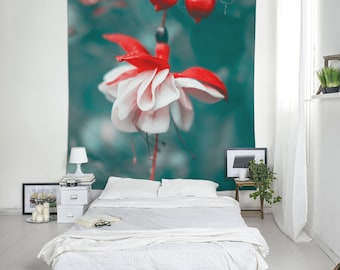 Fuchsia Flower Tapestry Fabric, Flower Tapestry, Large Wall Decor, Floral Tapestries, Flower Wall Art, Bohemian Tapestries. UL074