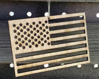 American Flag Ornament - Laser Cut Wood