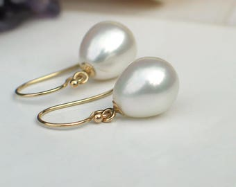 14k Yellow Gold Earrings | White Freshwater Teardrop Pearls | Classic Pearl | June Birthday Gift | Everyday Pearl Earrings | Ready to Ship