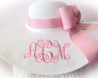 Monogrammed White & Pale Pink Floppy Hat  Bride, Gorgeous, Bridal Shower, Bridal Party, Honeymoon or Bridesmaids, Sunbonnet, Derby, Cup Race