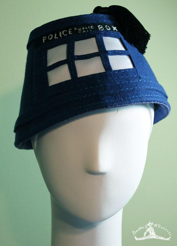Unisex Blue Tardis Fez Hat - Dr. Who - OOAK