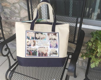 """Photo Tote Bag - 1 Photo Collage Panel - two tone canvas bag - Up tp 8 photos and special words on a 8.5""""x11"""" fabric panel"""