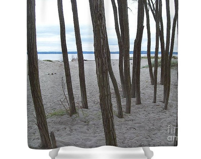 """Shower Curtain """"Lonely Trees by the Sea"""""""