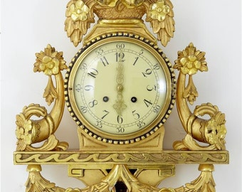 Swedish Gilt Carved Wall Clock by Westerstrand c1940