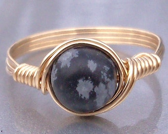 Snowflake Obsidian Ring, Stone Ring, 14k Yellow Gold Fill Ring, Wire Wrapped Ring, Custom Sized Ring